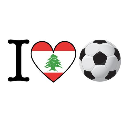 I heart Soccer banner with Lebanon flag. Love Football concept Stok Fotoğraf