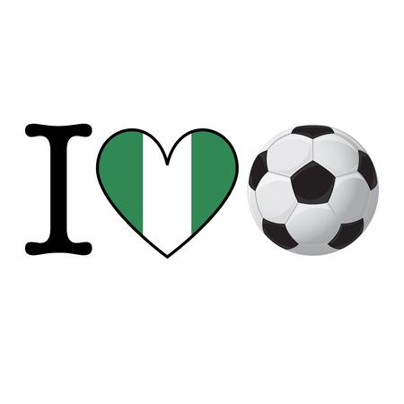 I heart Soccer banner with Nigeria flag. Love Football concept Stok Fotoğraf