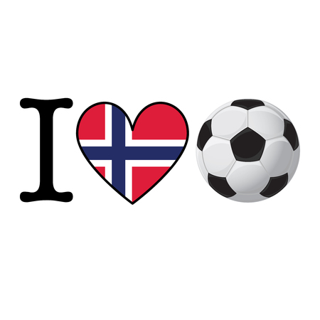 I heart Soccer banner with Norway flag. Love Football concept