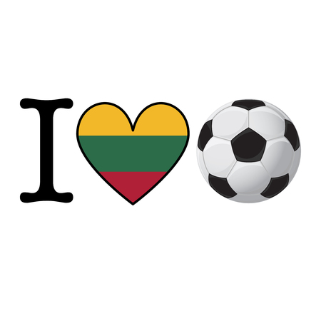 I heart Soccer banner with Lithuania flag. Love Football concept
