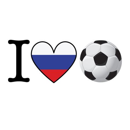 I heart Soccer banner with Russia flag. Love Football concept