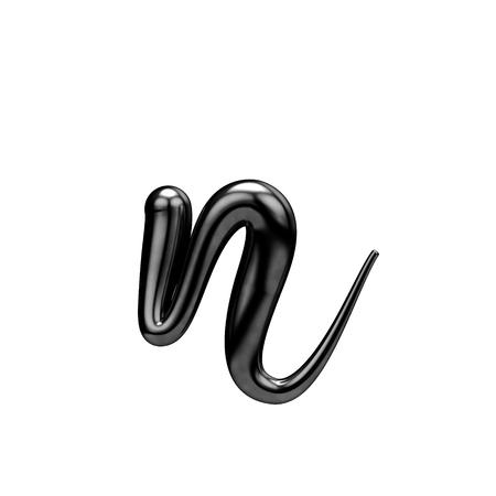 Letter N black handwritten script font. 3D Rendering Stock Photo