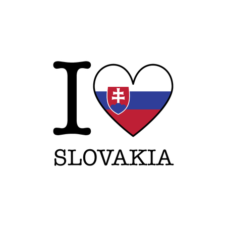 I love Slovakia. Heart shape national country flag icon Stock Photo