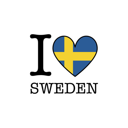 I love Sweden. Heart shape national country flag icon Stock Photo
