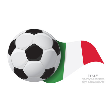 Italy waving flag with a soccer ball. Football team support concept 免版税图像