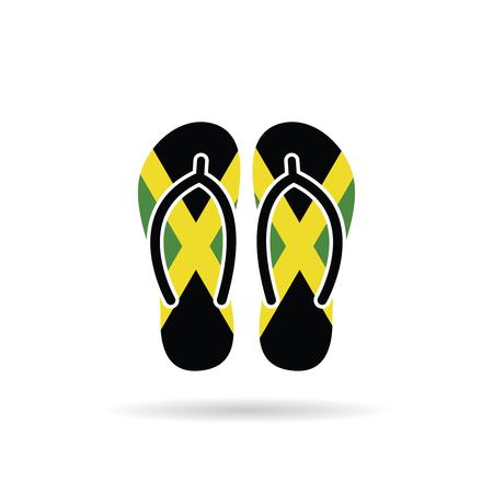 Jamaica flag flip flop sandals icon on a white background.