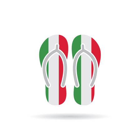 Italy flag flip flop sandals icon on a white background.