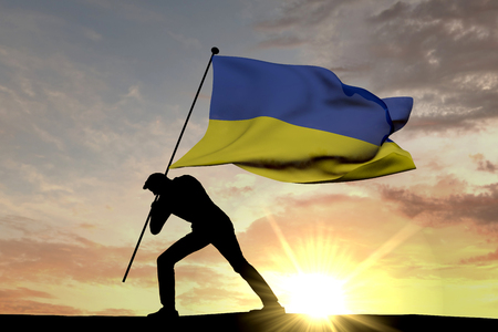 Ukraine flag being pushed into the ground by a male silhouette. 3D Rendering