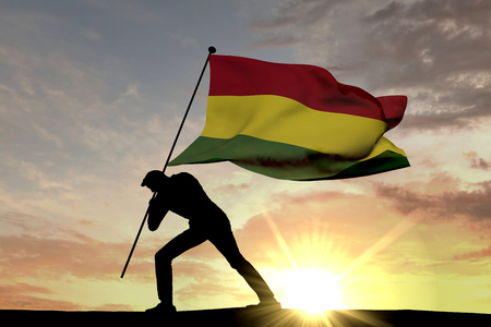Bolivia flag being pushed into the ground by a male silhouette. 3D Rendering