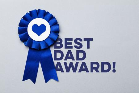 Father's day blue celebration rosette with message Фото со стока
