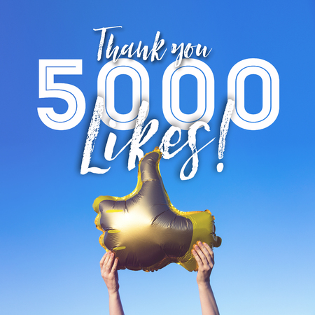 Thank you 5000 likes gold thumbs up like balloons social media template banner Stock Photo