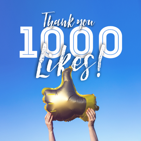 Thank you 1000 like gold thumbs up like balloons social media template banner 写真素材