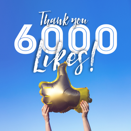 Thank you 6000 likes gold thumbs up like balloons social media template banner