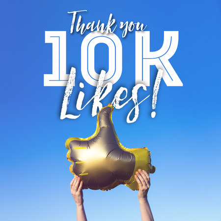 Thank you 10 thousand likes gold thumbs up like balloons social media template banner