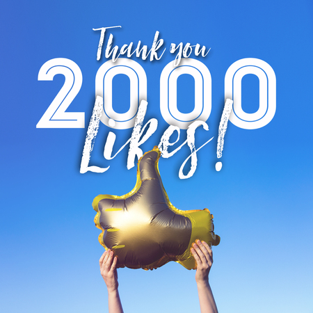 Thank you 2000 likes gold thumbs up like balloons social media template banner Stock Photo