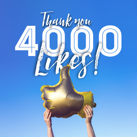 Thank you 4000 likes gold thumbs up like balloons social media template banner