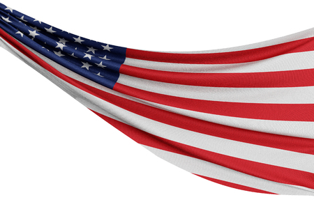 The national flag of United States. Waving fabric flag with texture draped on a plain white background. 3D Rendering Stock Photo - 102906789