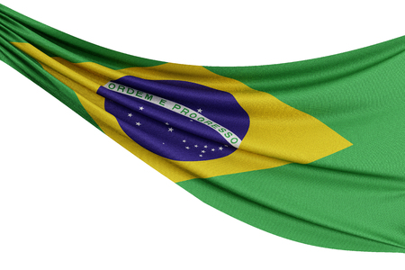 The national flag of Brazil. Waving fabric flag with texture draped on a plain white background. 3D Rendering Stok Fotoğraf