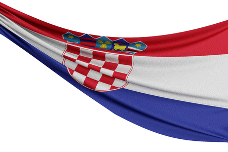 The national flag of Croatia. Waving fabric flag with texture draped on a plain white background. 3D Rendering