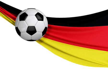 The national flag of Germany with a soccer ball. Football supporter concept. 3D Rendering