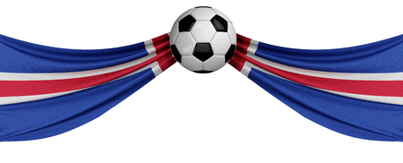 The national flag of Iceland with a soccer ball. Football supporter concept. 3D Rendering Archivio Fotografico