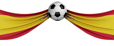 The national flag of Spain with a soccer ball. Football supporter concept. 3D Rendering