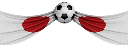 The national flag of Japan with a soccer ball. Football supporter concept. 3D Rendering Stock Photo