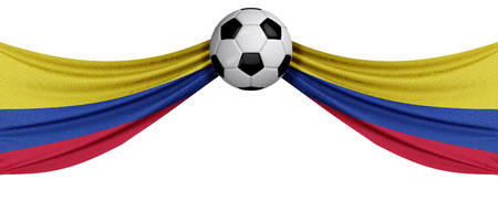 The national flag of Colombia with a soccer ball. Football supporter concept. 3D Rendering