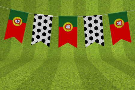 Portugal flag and soccer ball texture football flag bunting. 3D Rendering Stock Photo