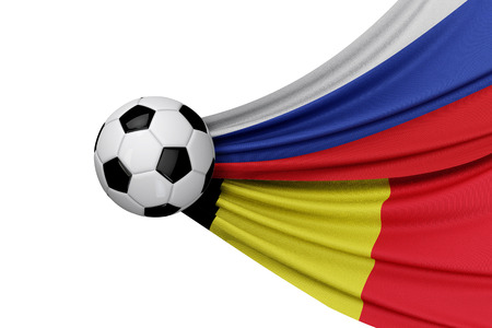Russia and Belgium flag with a soccer ball. 3D Rendering Stock Photo