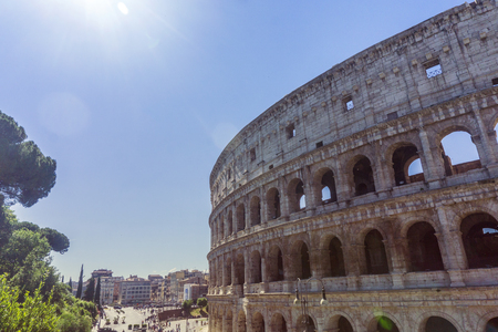 View of the Colosseum in Rome, Italy. The Colosseum is one of the most popular tourist attractions in Rome