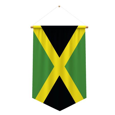 Jamaica flag cloth hanging banner. 3D Rendering