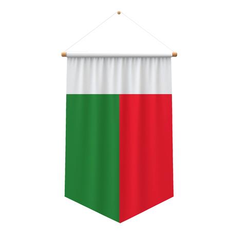 Madagascar flag cloth hanging banner. 3D Rendering