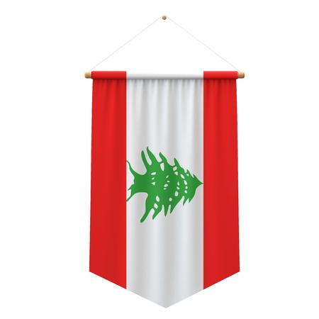 Lebanon flag cloth hanging banner. 3D Rendering Stock Photo