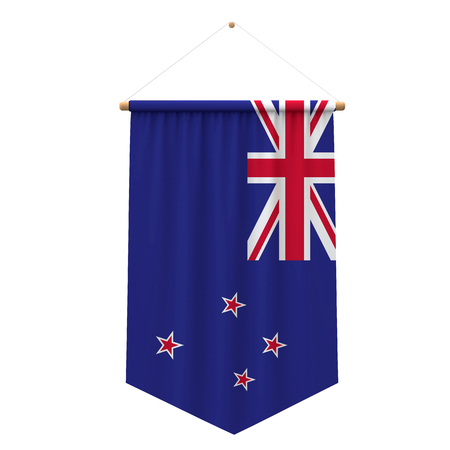 New Zealand flag cloth hanging banner. 3D Rendering