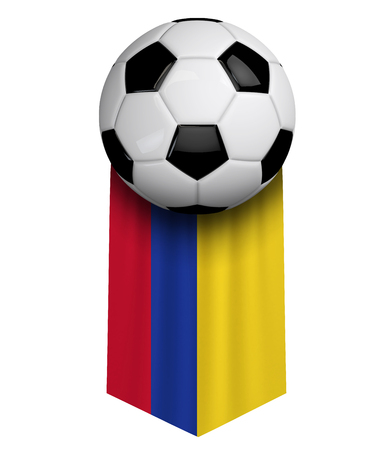 Colombia soccer ball flag cloth hanging banner. 3D Rendering