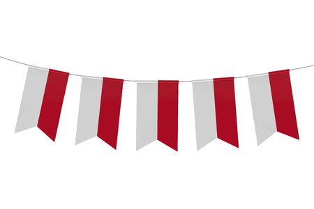 Indonesia national flag festive bunting against a plain white background. 3D Rendering