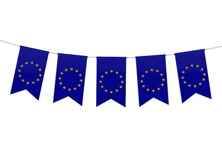 European Union national flag festive bunting against a plain white background. 3D Rendering 스톡 콘텐츠