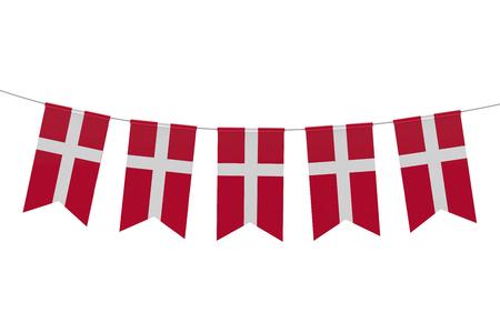 Denmark national flag festive bunting against a plain white background. 3D Rendering