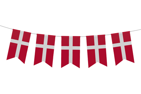 Denmark national flag festive bunting against a plain white background. 3D Rendering
