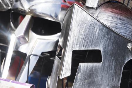Gladiator metal helmets. Roman and Greek warrior Stock Photo