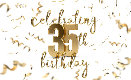 Celebrating 35th birthday gold greeting card with confetti. 3D Rendering