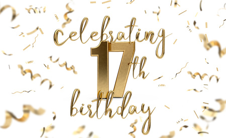 Celebrating 17th Birthday Gold Greeting Card With Confetti 3d