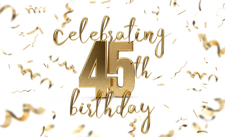 Celebrating 45th birthday gold greeting card with confetti. 3D Rendering Banco de Imagens