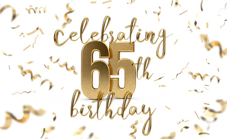 Celebrating 65th birthday gold greeting card with confetti. 3D Rendering