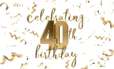 Celebrating 40th birthday gold greeting card with confetti. 3D Rendering