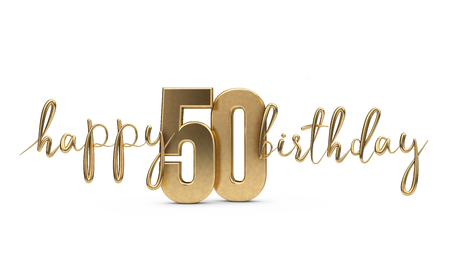 Happy 50th birthday gold greeting background. 3D Rendering 스톡 콘텐츠