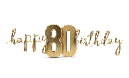 Happy 80th birthday gold greeting background. 3D Rendering