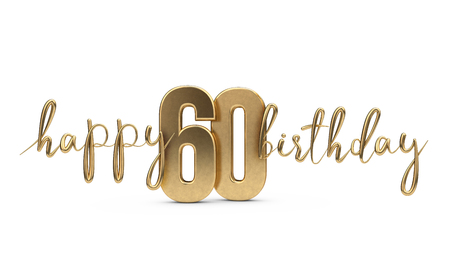 Happy 60th birthday gold greeting background. 3D Rendering