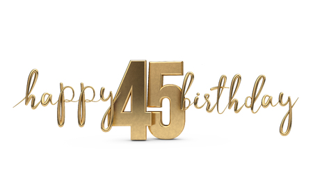 Happy 45th birthday gold greeting background. 3D Rendering